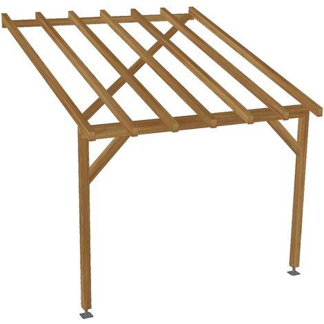 toit de terrasse 3x3 tuilable pente 30 bois massif traite cl3 marron robuste sans la visserie et sans les pieds de poteaux