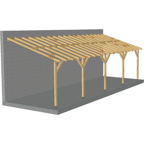 carport adosse 9x3 pente 30 bois massif durable sans la visserie et sans les pieds de poteaux