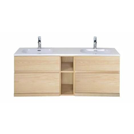 meuble salle de bain bois double vasque 140 cm enio bois clair