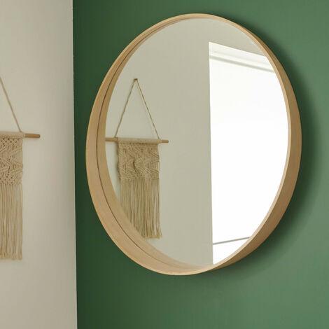 miroir rond design en bois d80 cm vali bois clair