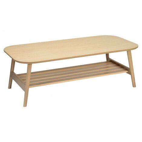 table basse scandinave en chene double plateau 120 x 40 cm otelo