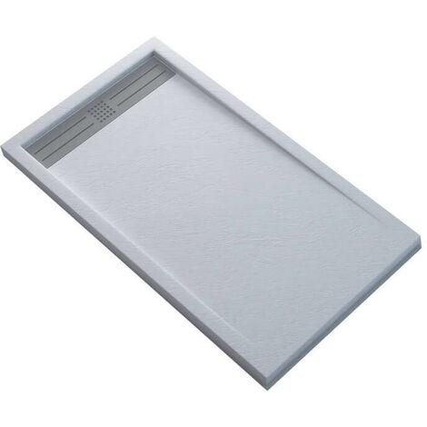 receveur de douche extra plat rectangulaire avec caniveau solid surface blanc slimline dimension 100 x 80