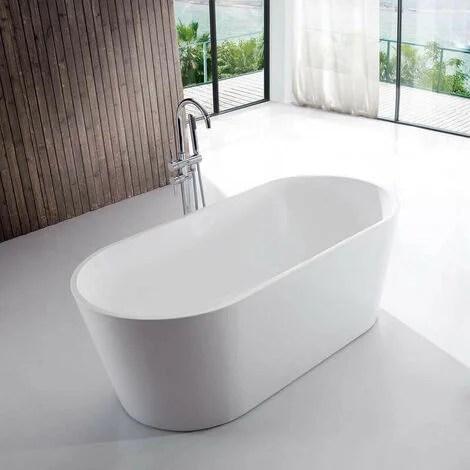 baignoire ilot ovale acrylique blanc 120x65 cm rome