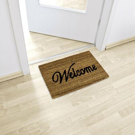 paillasson welcome en fibres de coco tapis de sol pour porte entree 60 x 40 cm natte dessous antiderapant caoutchouc pvc essuie pieds salete interieur