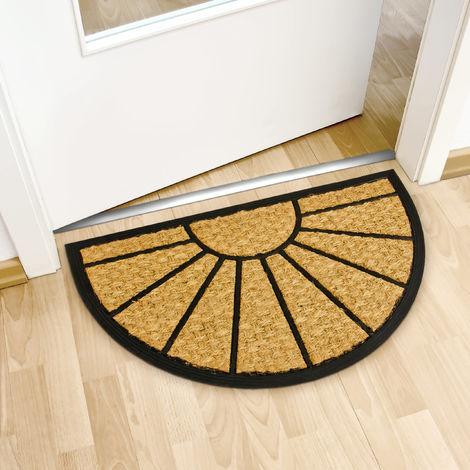 paillasson fibres de coco tapis de sol porte d entree forme demi lune 75 x 45 cm dessous antiderapant caoutchouc pvc essuie pieds salete interieur