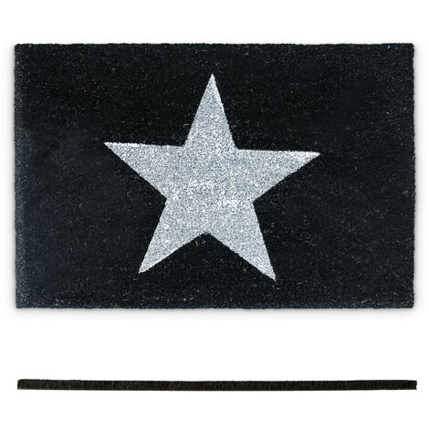 paillasson d entree tapis d accueil en fibre de coco etoile 40 x 60 cm natte de sol essuie pieds tapis de plancher porte entree antiderapant