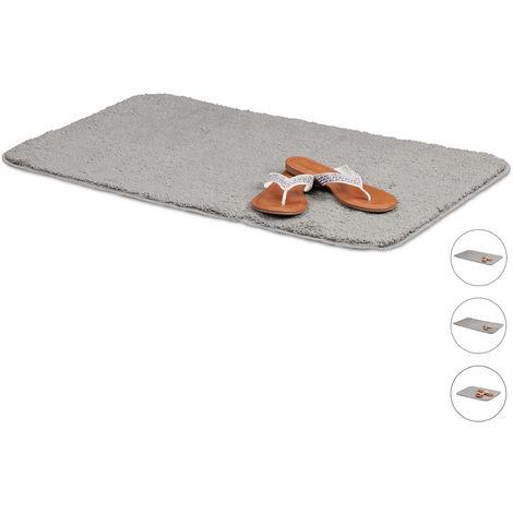 relaxdays tapis de bain gris salle de