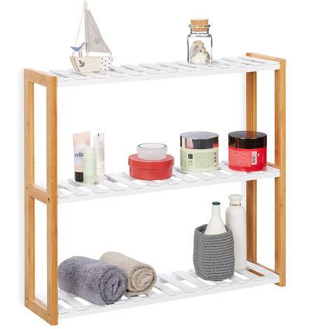 Relaxdays Wall Shelf Unit With 3 Tiers Bathroom Shelving Kitchen Rack Bookshelf Bamboo Mdf Hwd 54x60x15cm White Natural 5100246065475
