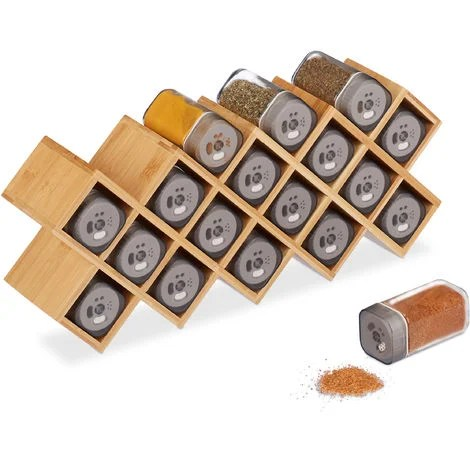 relaxdays spice rack with 18 spice jars bamboo glass standing kitchen organiser hwd 18 x 44 x 9 5 cm natural