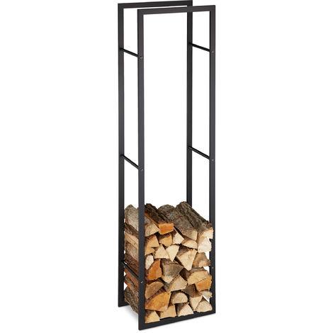 relaxdays indoor firewood rack tall log storage shelf for fireplace oven steel hxwxd 170x44 5x30 cm black
