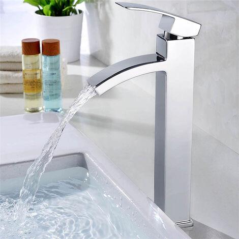 robinet salle de bain cascade mitigeur de lavabo chrome robinet bec fixe filtre a eau en grille integre design contemporain