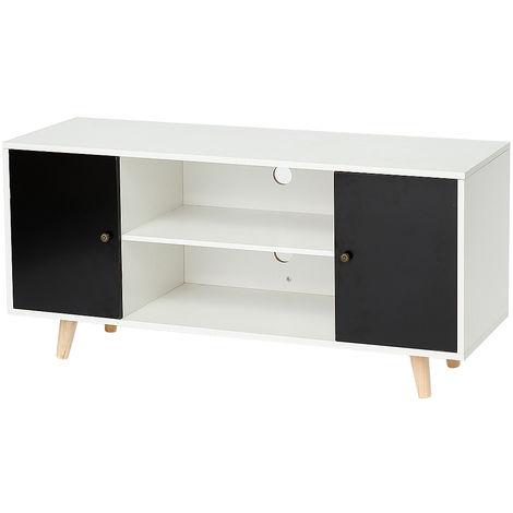 meuble tv scandinave pieds en bois gris fonce et blanc