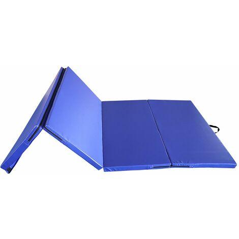 tapis de gymnastique pliable 240 x 120 x 5 cm matelas de fitness portable natte de gym pour fitness yoga sport et exercice bleu