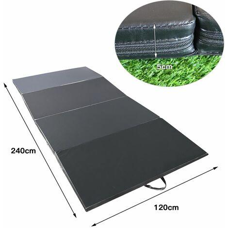 tapis de gymnastique pliable 240 x 120 x 5 cm matelas de fitness portable natte de gym pour fitness yoga sport et exercice noir