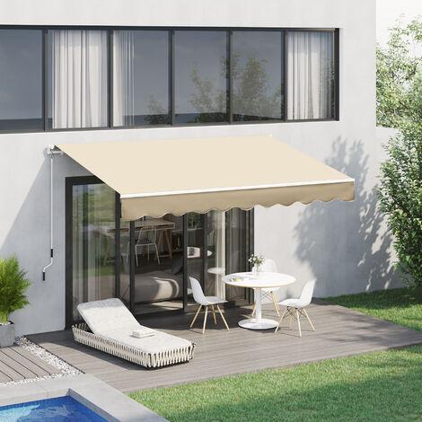 La tenda zip con telo pvc trasparente per esterni garantisce protezione. Outsunny Tenda Da Sole A Braccio Avvolgibile Manuale In Poliestere Impermeabile Beige 4x2 5m