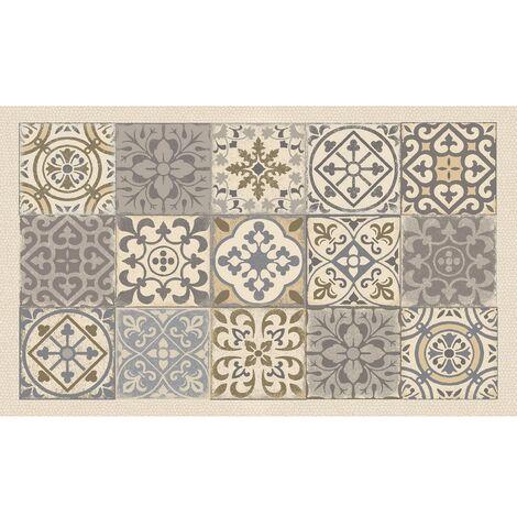 tapis velvet carreau ciment ocre