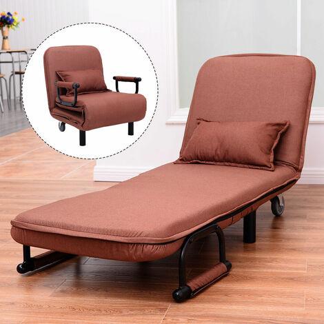 single folding sofa bed chair modern fabric sleep function holder w pillow coffee