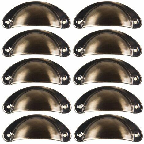 10 poignee de coquille vintage pour tiroir armoire meuble cuisine fer incurve bouton de porte de placard retro 8 2 cm x 3 5 cm