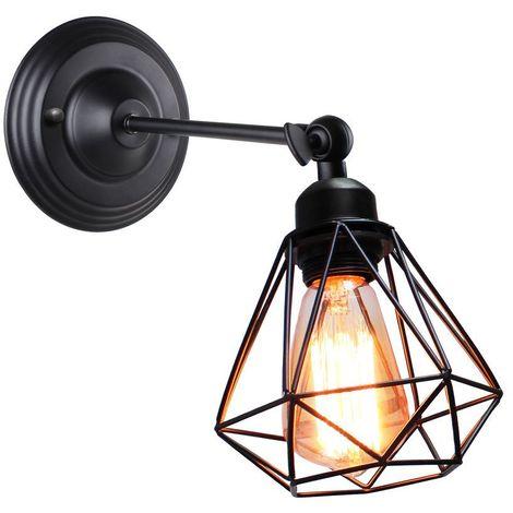 applique mural industrielle design forme cage diamant ajustable lampe de plafond metal luminaire pour salon chambre salle a manger sans ampoule
