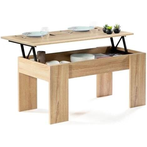 table basse plateau relevable tara bois imitation hetre