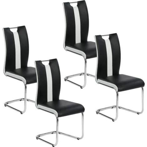 lot de 4 chaises pia noires et blanches pour salle a manger