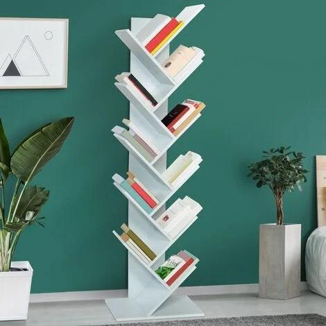 etagere bibliotheque a livres tea forme d arbre 10 niveaux blanche