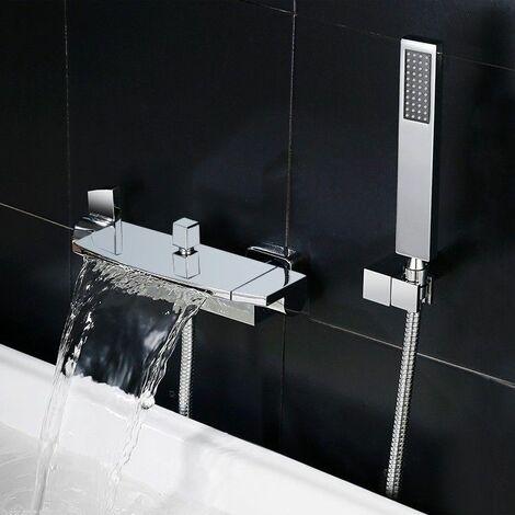 robinet de baignoire encastre contemporain avec douchette chrome