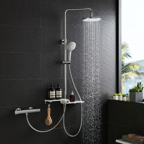 colonne de douche hydromassante avec douchette ronde et etagere acier inox bras reglable baignoire salle de bain wc