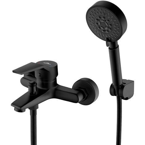 auralum mitigeur de baignoire noir 5 en 1 set de robinet baignoire melangeur cascade avec douchette mitigeur bain douche salle de bain