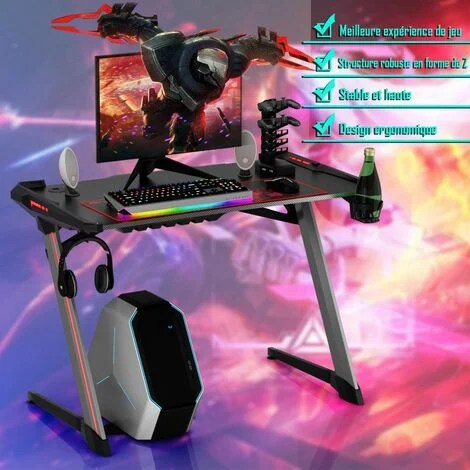 costway bureau gamer bureau de jeu pour gaming avec tapis de souris 2 porte ecouteurs support de poignee avec interface usb 5v