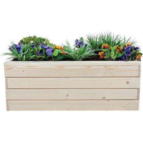 jardiniere rectangulaire en bois pour legumes poterie exterieur herbe jardin beige