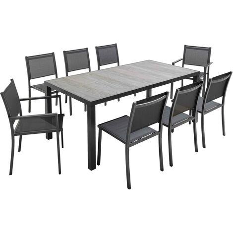 salon de jardin aluminium et ceramique 1 table 6 chaises 2 fauteuils toronto gris gris