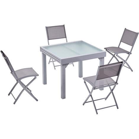 molvina 4 table de jardin extensible en aluminium 8 personnes 4 chaises