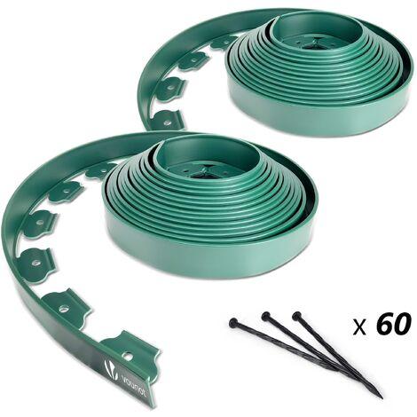 bordure de jardin plastique flexible 20m avec piquets vert