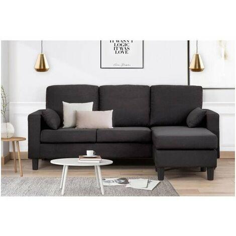 berlin canape d angle reversible 3 places tissu noir contemporain l 185 x p 128 cm