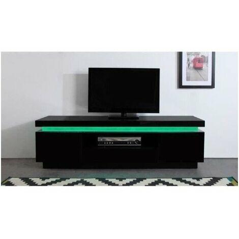 flash meuble tv avec led contemporain noir laque brillant l 165 cm