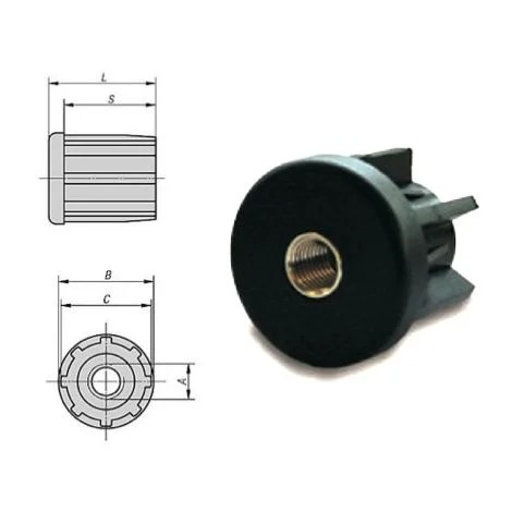 embout a insert taraude pour tube rond 30 m10 1 mm