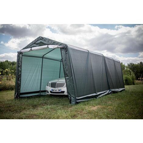abri jardin en toile verte toit 2 pentes 18 6 m2