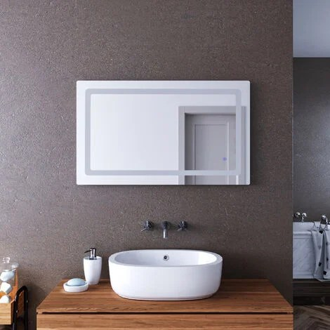 elegant 1000x600mm illuminated led bathroom mirror lights curved edge design backlit shaver socket bath vanity wall mounted mirrors with touch switch