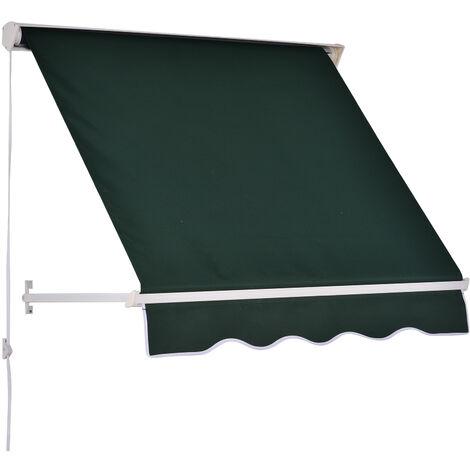 store banne manuel inclinaison reglable aluminium polyester impermeabilise 70l x 120l cm vert vert