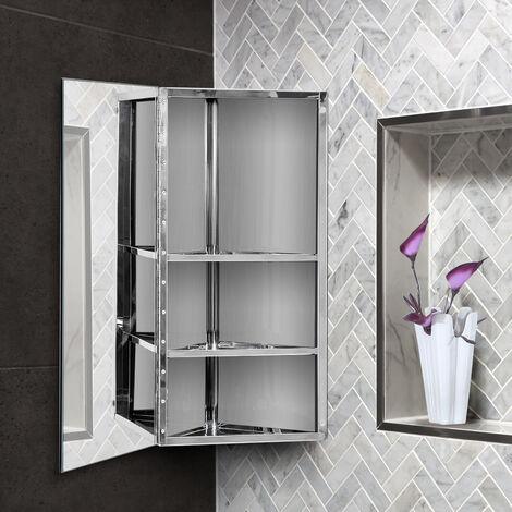 armoire miroir rangement toilette salle de bain meuble mural d angle 60 x 30 x 18 4 cm acier inoxydable gris
