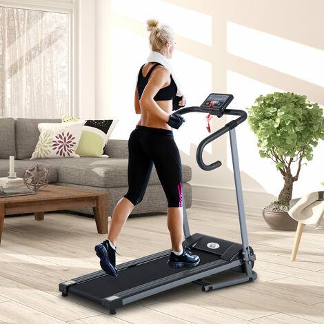 tapis de course fitness electrique pliable 1 a 10 km h ecran lcd multifonctions puissance 500 w gris fonce noir gris fonce