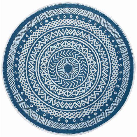 tapis rond exterieur 150 cm mandaly bleu bleu