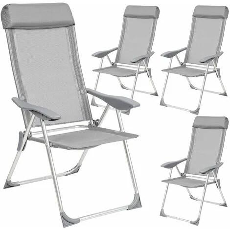 4 aluminium garden chairs with headrest reclining garden chairs garden recliners outdoor chairs grey