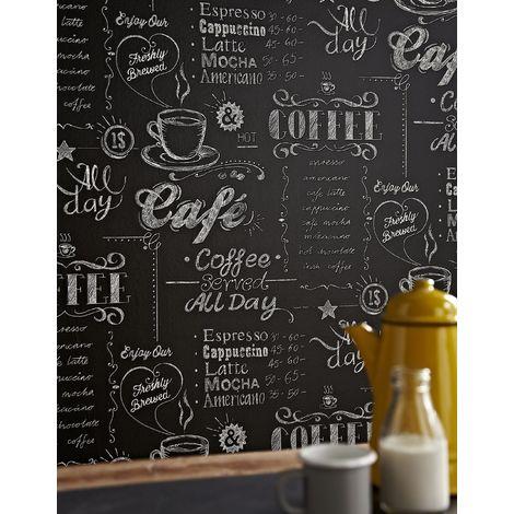 carta da parati con scritte per cucina effetto lavagna. Tazza Di Caffe Nero Bianco Carta Da Parati