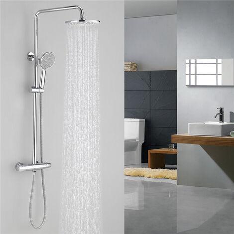 aihom colonne de douche thermostatique ensemble de douche douchette a mains avec 5 jets d eau systeme de douche hauteur reglable pour salle de bains