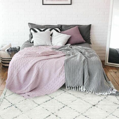 berbere losange tapis en coton motifs losanges ecru naturel 130x190 beige