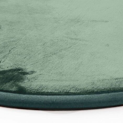 flanelle tapis rond extra doux effet velours vert fonce diam 70 vert