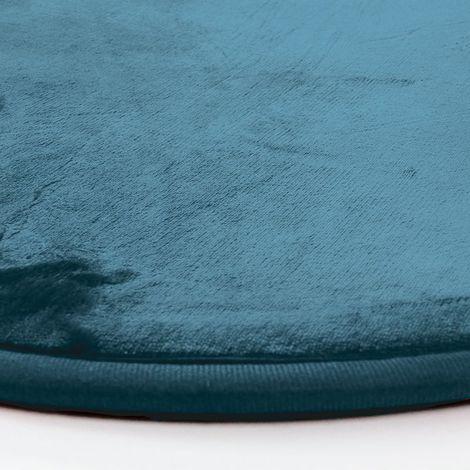 flanelle tapis rond extra doux effet velours bleu fonce diam 70 bleu