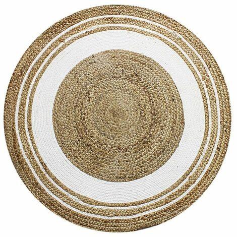 funny jute tapis rond en jute et coton cercle blanc diam 90 blanc